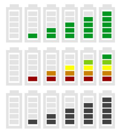 recarga: Nivel de la bater�a s�mbolo indicador ajustado de menor a mayor. Sin energ�a, carga, s�mbolos de bater�a de recarga en secuencia. Consumo de energ�a, generaci�n, conservaci�n. Vectores
