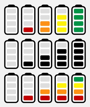 消費: バッテリ レベル インジケーターの記号は低から高に設定。エネルギー、電荷を充電バッテリー シンボルのシーケンス。消費電力、世代、保全。