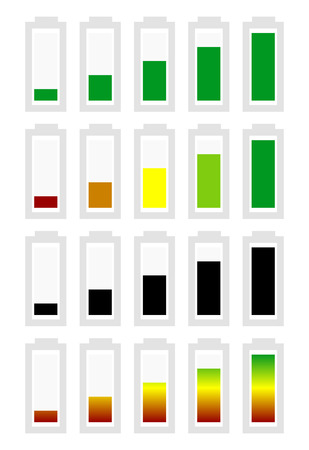 handheld device: Battery level indicator symbol set from low to high. No energy, charge, recharge battery symbols in sequence. Power consumption, generation, conservation.