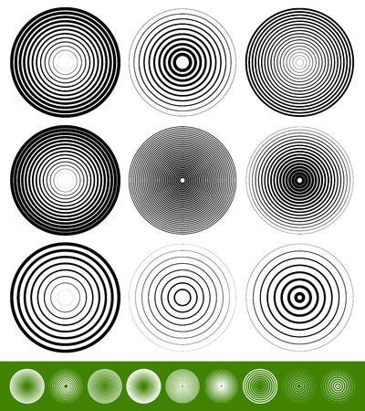 Concentric Circle Elements / Backgrounds. Abstract circle pattern.  イラスト・ベクター素材