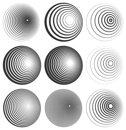 Concentric Circle Elements / Backgrounds. Abstract circle pattern. 向量圖像