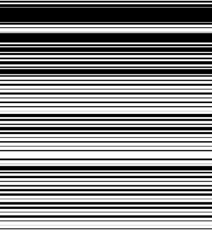 thickness: Straight, horizontal lines pattern with random thickness. Black and white background. (Seamlessly repeatable horizontally.)