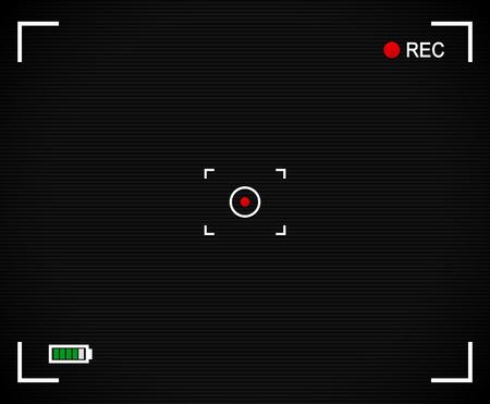 rec: Sfondo fotocamera, mirino della fotocamera con mirino, segno target, etichetta rec e indicatore livello batteria. Con linee di scansione e puntino rosso al centro. Vettoriali