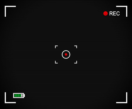 Camera background, Camera Viewfinder with cross hair, target mark, rec label and battery level indicator. With scanlines and red dot at center.