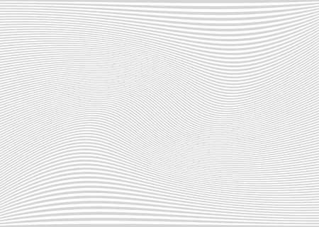 Horizontal lines / stripes pattern or background with wavy, curving distortion effect. Bending, warped lines. Light gray. Illustration