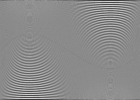 수평 라인  줄무늬 패턴 또는 물결 모양의 배경, 왜곡 효과 커브. , 변형 된 라인을 굽힘. 다크 그레이. 일러스트