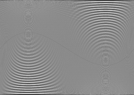 Horizontal lines / stripes pattern or background with wavy, curving distortion effect. Bending, warped lines. Dark Gray.