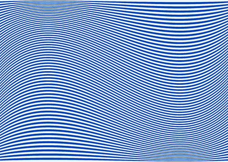 Horizontal lines  stripes pattern or background with wavy, curving distortion effect. Bending, warped lines. Blue version. Vector