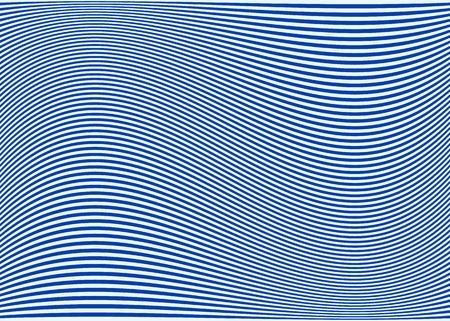 Horizontale Linien / Streifen-Muster oder Hintergrund mit wellenförmigen, geschwungene Verzerrungseffekt. Biegen, verzogene Linien. Blaue Version. Vektorgrafik