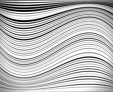 curving lines: Horizontal lines  stripes pattern or background with wavy, curving distortion effect. Bending, warped lines with random thickness.