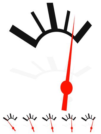 low scale: Generic dial, gauge, guage. Measurement, level indicators.