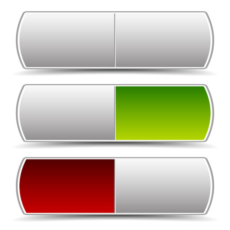 intact: Power button, switch vector elements. Turn on, turn off. Power On-Off themes. Pressed green and red version and intact version. Illustration