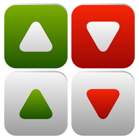 arrowheads: Rounded arrows, arrowheads up and down. Minimal Buttons or icons. Editable vector. Illustration
