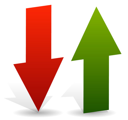 deficit: 3d arrows point up and down in green and red. Editable vector. Growth, deficit, business concepts
