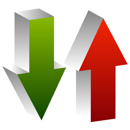 stockmarket: 3d arrows point up and down in green and red. Editable vector. Growth, deficit, business concepts