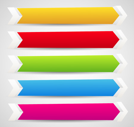 arrowheads: Horizontal banner or button templates with blank space for your message - 3d banners with arrows, arrowheads. Colorful design elements. Illustration