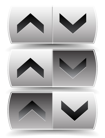 pressed: Up down arrow buttons with pressed, pushed versions. For vertical alignment, increase, decrease, scroll concepts. Illustration
