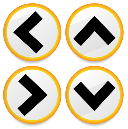 arrowheads: Orange, yellow arrows, arrowheads pointing up, down, left and right. Up, down, left right buttons, icons with arrows casting diagonal shadow