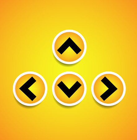 up and down: Orange, yellow arrows, arrowheads pointing up, down, left and right. Up, down, left right buttons, icons with arrows casting diagonal shadow