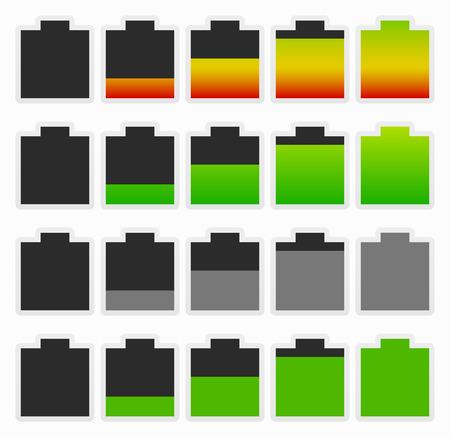 recarga: Conjunto de indicadores audaces nivel de bater�a. Recarga, conservaci�n de energ�a - Consumo de ... Vectores