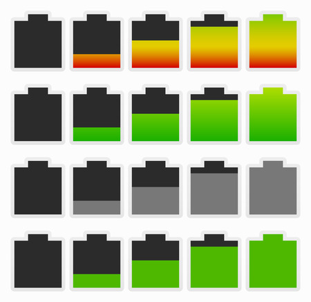 energy conservation: Set of bold battery level indicators. Recharge, energy conservation - consumption ...