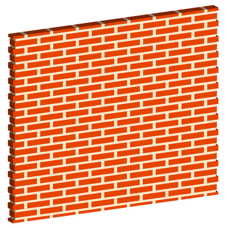 redbrick: 3D, Spatial Brick wall, brickwork with regular pattern isolated on white. Editable vector graphic