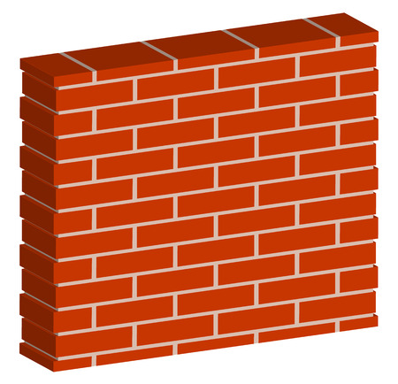 3D, Spatial Brick wall, brickwork with regular pattern isolated on white. Editable vector graphic
