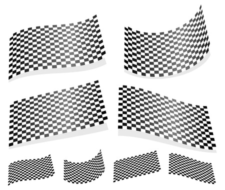 Waving checkered flags, surfaces. 3d planes with checkered surface Vector