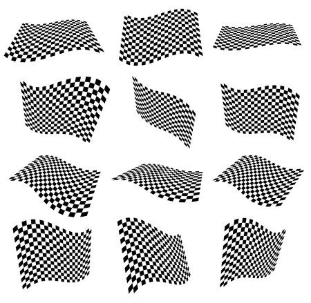 Agitant des drapeaux à carreaux, surfaces. Des avions 3D avec surface damier Banque d'images - 38881957