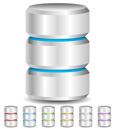 Metal Cylinder. Webhosting, Server, Mainframe Computer Concepts. Archive, Database, Hard Disk Drive, HDD Vector Icon