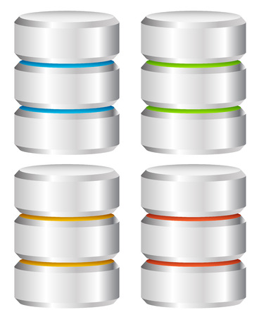 Cylindre métallique. Concepts Hébergement Web, Serveur, Mainframe informatiques. Archive, Base de données, disque dur, disque dur Vecteur Icône