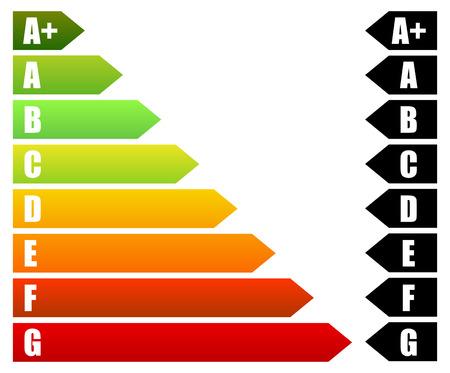 消費: エネルギーの評価証明書、エネルギー性能証明書.エネルギー効率、住宅、家、建物のエネルギー消費  イラスト・ベクター素材