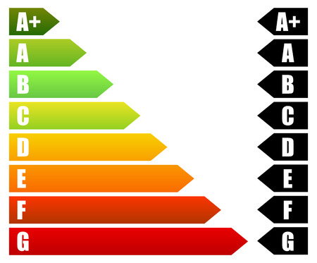 energy consumption: Energy Rating Certificate, Energy Performance Certificates. Energy efficiency, energy consumption rating for houses, homes, buildings