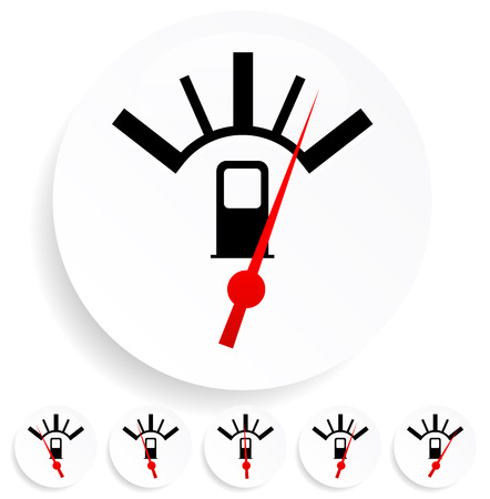 Fuel, gas meter vector elements with red pointers Illustration