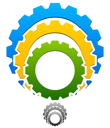 rackwheel: Gear-Gearwheel Icon, Emblem with Tricolor and Grayscale versions included