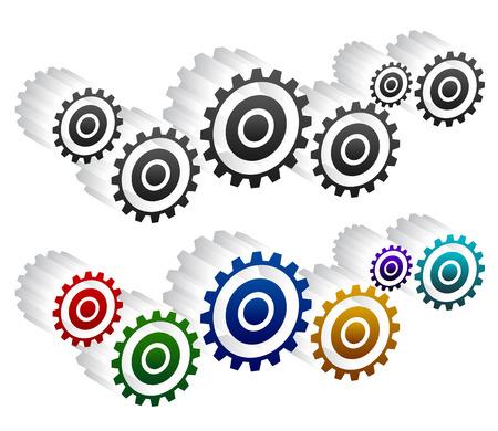rackwheel: Various gear wheel, rack wheel vector graphics. Mechanics, manufacturing, industrial or maintenance, rework, repair themes.