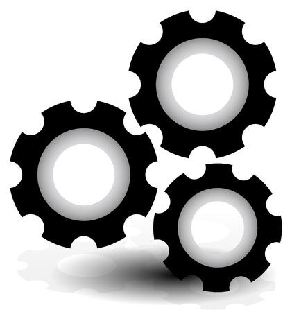 rack wheel: Various gear wheel, rack wheel vector graphics. Mechanics, manufacturing, industrial or maintenance, rework, repair themes.