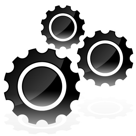 rework: Various gear wheel, rack wheel vector graphics. Mechanics, manufacturing, industrial or maintenance, rework, repair themes.