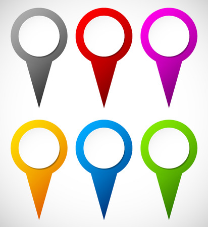 map pins: Set of colorful map markers, map pins Illustration