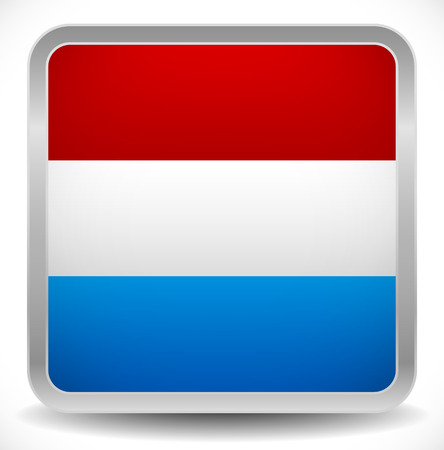 nederland: Flag of Netherlands Square Vector Icon - Dutch Flag