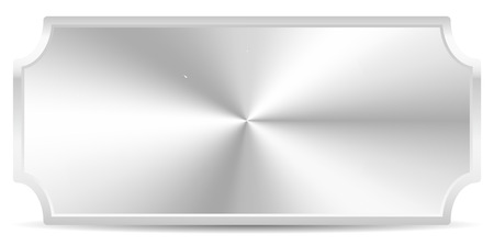 plaque: Metal plaque, plate Isolated on white with conical gradient fill