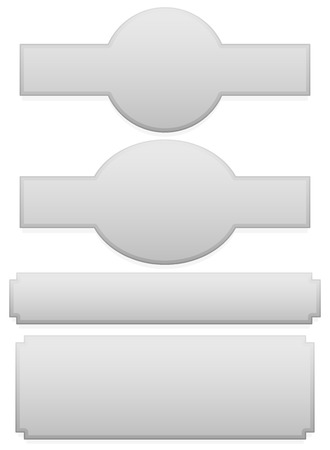 oblong: Set of different plaque, plaquette shapes on white Illustration