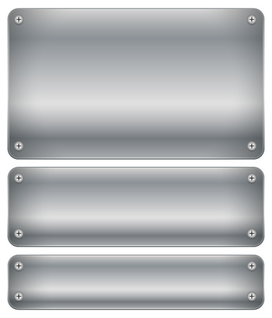 Set of shaded metal plates, plaques with rivets