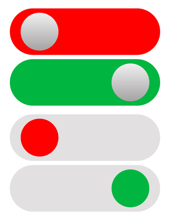 initiate: Power On-Off Switches, Buttons in red and green. Simple UI-Interface element set Illustration