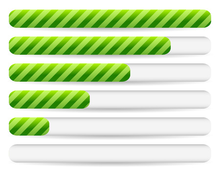 admeasure: Progress, loading bars with striped texture. Vectors.