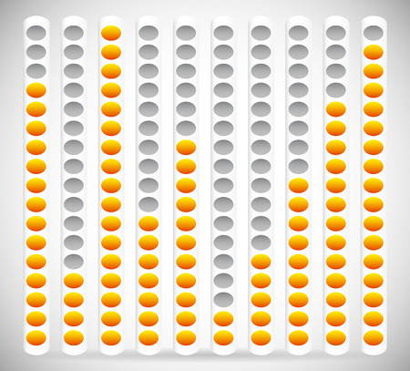 eq: Eq, Equalizer Element with Yellow and Gray Colors. Editable Vector Graphics