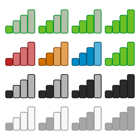 mobil: Signal strength indicator set in various colors. Symbols for Wireless Internet connection, no signal, bad antenna, online-offline themes
