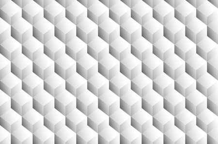 spatial: Grayscale 3d Cubes minimal, repeatable pattern (simple seamless, spatial geometry, vector graphics)
