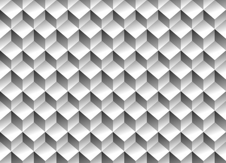 Grayscale 3d Cubes minimal, repeatable pattern (simple seamless, spatial geometry, vector graphics)