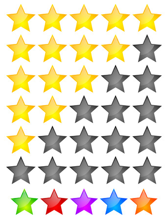 Star Rating Element. Star rating system for feedback, value, good-bad experience, customer satisfaction, valuation of quality, good-bad quality concepts. Vector.  イラスト・ベクター素材